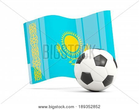 Football With Waving Flag Of Kazakhstan Isolated On White