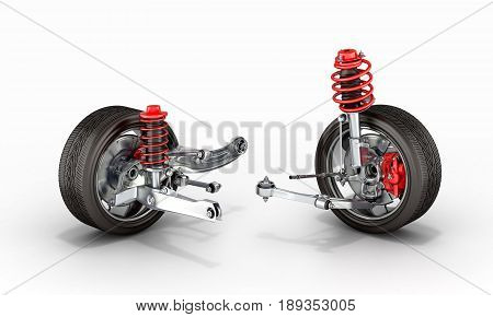 Suspension Of The Car With Wheel 3D
