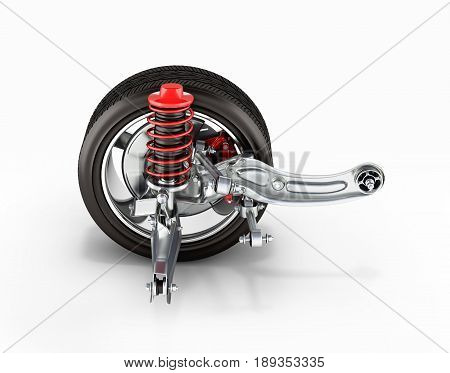 Suspension Of The Car With Wheel Side View 3D