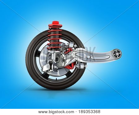 Suspension Of The Car With Wheel Side View On Blue Background 3D