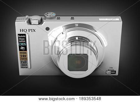 Digital Photo Camera On Blue Background 3D Render