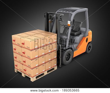 Forklift Truck With Boxes On Pallet Perspective View On Black Background 3D