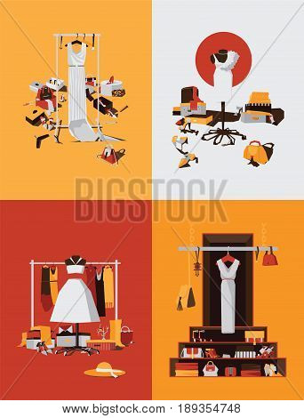 Vector set with bright interiors of boutique shop or wardrobe on bright background. 4 different designs with hangers and dresses accessories shoes bags and boxes for women or young girl