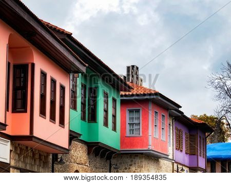 Detail shot of old houses from Old City, Antalya Turkey