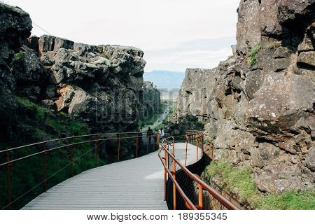 Thingvellir park in Iceland, the fault of tectonic plates