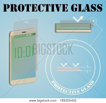 Banner for advertising protective glass for smartphones. Vector illustration