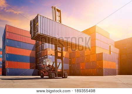 Logistic Cargo Container In Shipping Yard With Cargo Container Stack In Background. Photo Concept Fo