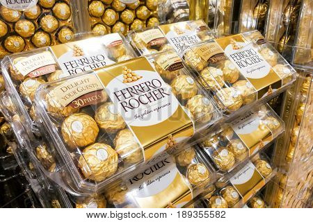 Kuala Lumpur, Malaysia, June 3, 2017: Ferrero Rocher Is A Spherical Chocolate Produced By The Italia
