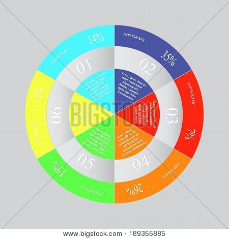 Infographics step by step. Abstract pie chart graph diagram with 6 steps options parts processes. Vector business template for presentation and training.