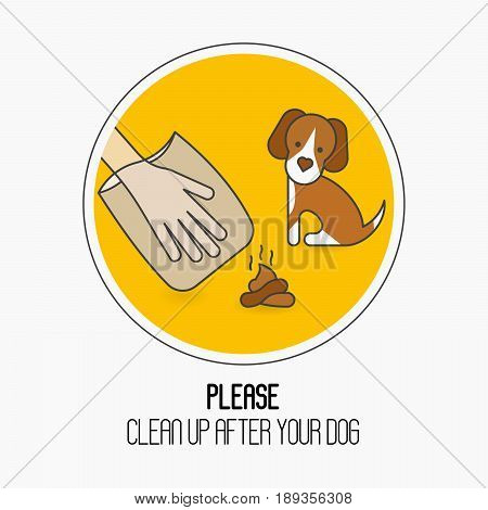 Prohibition sign: please clean up after your dog. Cute dog, hand in plastic package and poop. Ecological cleanliness concept thin line vector illustration.