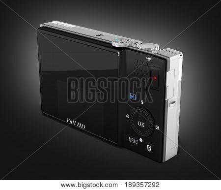 Digital Photo Camera On Black Gradient Background 3D Render