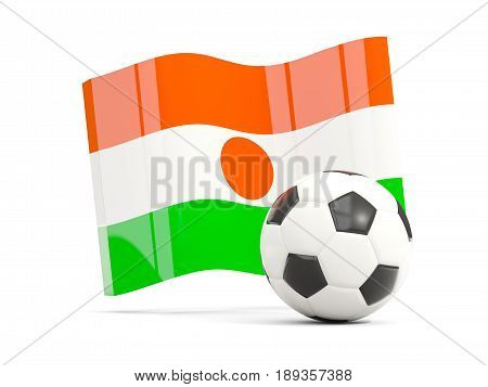 Football With Waving Flag Of Niger Isolated On White