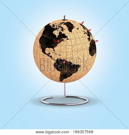 Desktop Globe With Pins On The Map On Blue Gradient Background 3D