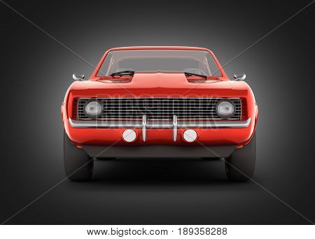 Muscle Car Front View On Black Gradient Background 3D