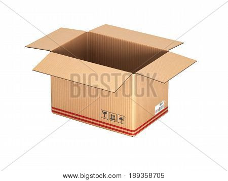Open Cardboard Box Without Shadow On White Background 3D