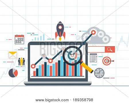 Web analytics information and development statistic. Modern concept of business strategy search information digital marketing programming process.