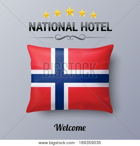 Realistic Pillow and Flag of Norway as Symbol National Hotel. Flag Pillow Cover with Norwegian flag
