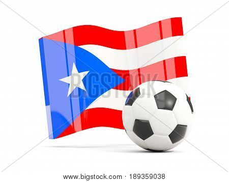 Football With Waving Flag Of Puerto Rico Isolated On White