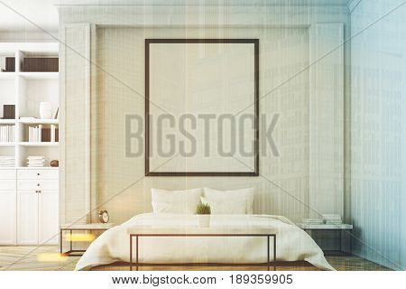 White bedroom interior with a double bed a coffee table a bookcase near a wall and a vertical picture on the wall. 3d rendering mock up toned image