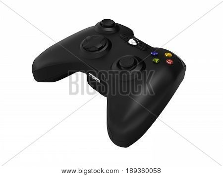 Black Gamepad Perspective View Without Shadow On White Background 3D