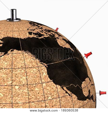 Desktop Globe With Pins On The Map On White Background 3D