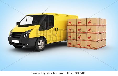 Yellow Delivery Van With Cardboard Boxes On Blue Gradient Background 3D