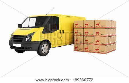 Yellow Delivery Van With Cardboard Boxes Without Shadow 3D