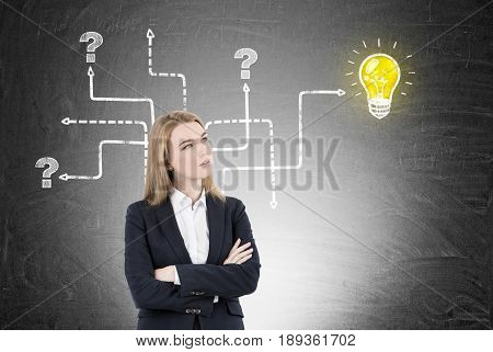 Blond businesswoman with crossed arms wearing a suit is standing near a blackboard with an arrow maze. Ways lead to white question marks nowhere and to a small glowing light bulb