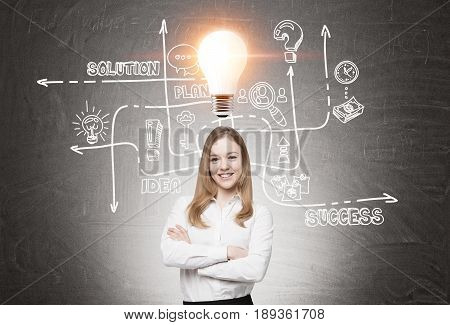 Portrait of a cheerful and confident blond businesswoman standing with crossed arms near a blackboard with a business sketch and a light bulb glowing above her head