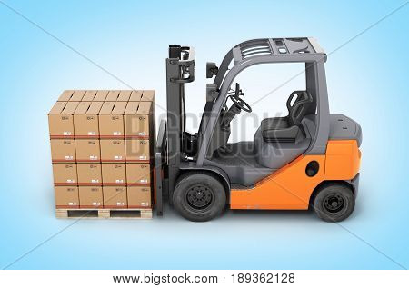 Forklift Truck With Boxes On Pallet Side View On Blue Gradient Background 3D