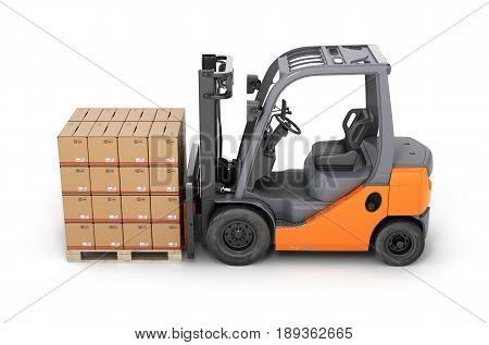 Forklift Truck With Boxes On Pallet Side View On White Background 3D