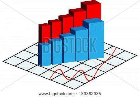 Abstract graph on white background. Vector illustration.