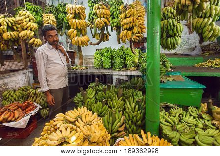 BANGALORE, INDIA - FEB 16, 2017: Banana trader selling green and yellow fruits on farmers market on February 16, 2017. With population 8.52 million Bangalore is the third most populous indian city