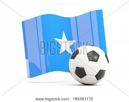 Football With Waving Flag Of Somalia Isolated On White