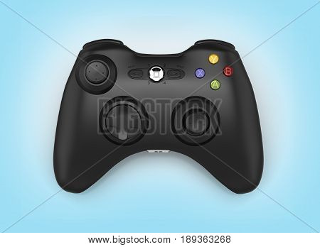 Black Gamepad On Blue Gradient Background 3D