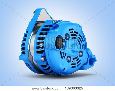 Car Alternator On Blue Gradient Background 3D