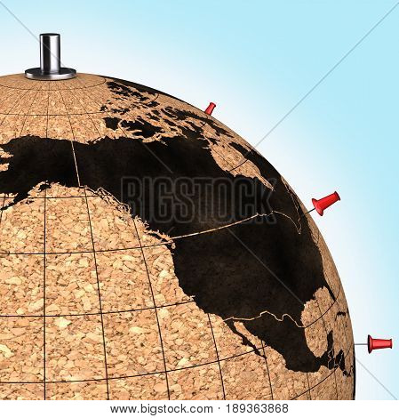 Desktop Globe With Pins On The Map On Blue Background 3D