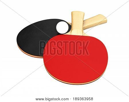 Ping-pong Rackets With Ball Without Shadow On White Background 3D