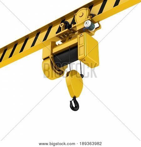 Overhead Crane Perspective View Isolated On White Background 3D