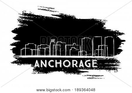 Anchorage Skyline Silhouette. Hand Drawn Sketch. Business Travel and Tourism Concept with Historic Architecture. Image for Presentation Banner Placard and Web Site.