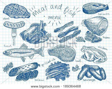 Meat, fish, menu, steak, trout, salami, ribs, grilled ribs, grilled chicken, sausage, chicken, beef, bacon, ham, salmon, salmon steak, herbs