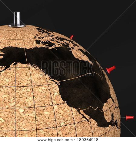 Desktop Globe With Pins On The Map On Black Background 3D
