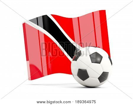 Football With Waving Flag Of Trinidad And Tobago Isolated On White