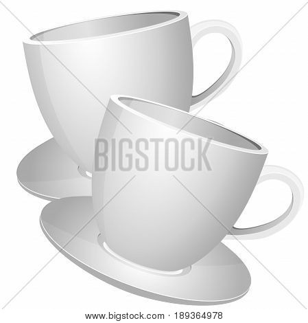 Realistic white coffee cups, a template of cups 3d for building of your design.