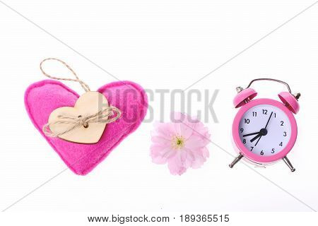 Pink Toy Heart, Sakura Flower And Pink Vintage Alarm Clock