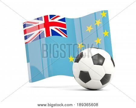 Football With Waving Flag Of Tuvalu Isolated On White