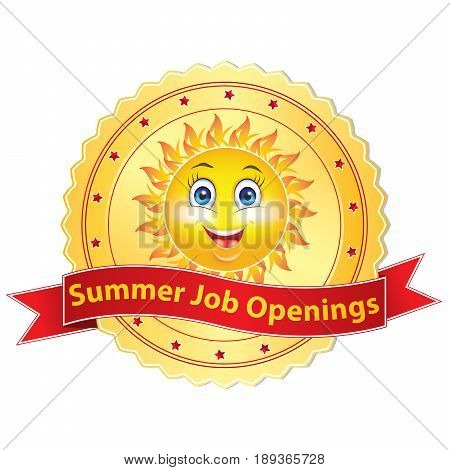 Summer job openings Printable sticker / label for companies / Employers that are looking for seasonal employees.