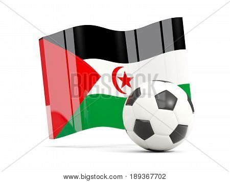 Football With Waving Flag Of Western Sahara Isolated On White