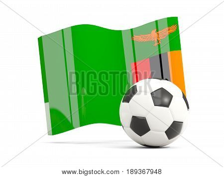 Football With Waving Flag Of Zambia Isolated On White