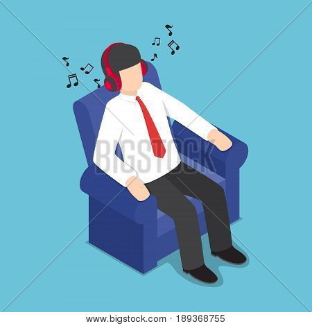 Isometric Businessman Resting At Sofa And Listening Music From Headphones